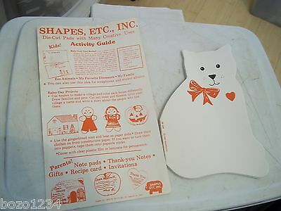 VINTAGE 1987 SHAPES ETC. DIE CUT PAD CAT w/ HEART & BOW ABOUT 40 PAGES IN PAD