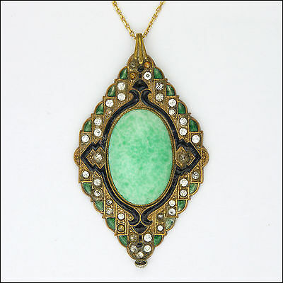 Victorian Costume Pastes and Enamel Pendant with Chain