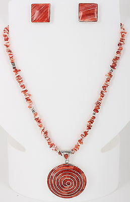 Cvs Sterling Silver Coral Stones Earring & Necklace Jewelry Set Vintage 950 9417