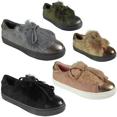 New Womens Ladies Trainers Fur Suede Flat Lace Up Pom Pom Sneakers Shoes Size