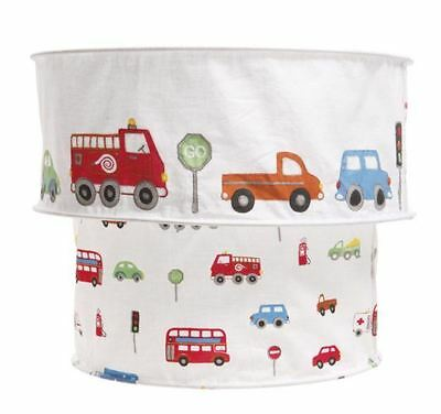 Two Tier Boys Journey Transport Lampshade - Cars Buses Trucks Light Shade