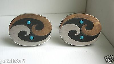 Taxco Mexico Sterling Silver Copper Turquoise Onyx Modernist Cuff Links
