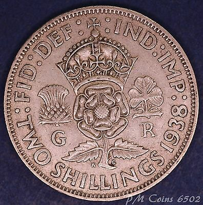 1938 George VI KGVI Silver 500 Florin/Two shilling coin *[6502]