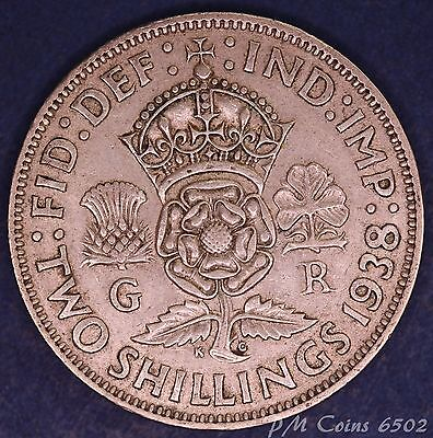 1938 George VI KGVI Silver 500 Florin/Two shilling coin [6502]