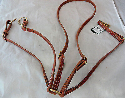 Running Martingale Hermann Oak Harness Leather Berlin Brass Horse Tack Western