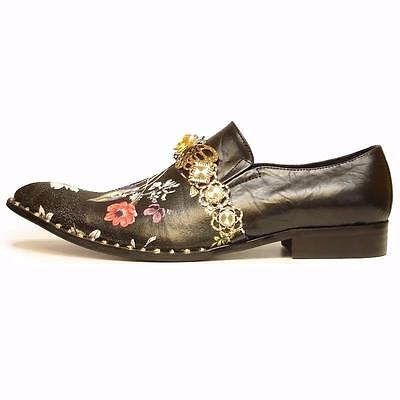 c7edf9f263c Men s Fiesso Leather Pointed Toe Black Floral Print Dress Shoes FI 7046