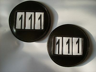 2 Leather Round Bridle Number Holders*Shows/Dressage/Competitions*BLACK / BROWN