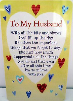 "Heartwarmer Keepsake Message Card ""to My Husband"" With Inspirational Love Poem"