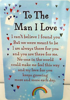 "Heartwarmer Keepsake Message Card ""to Man I Love"" With Inspirational Love Poem"