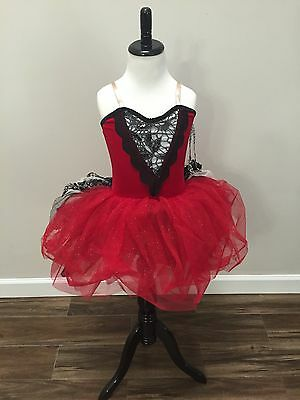 "Curtain Call Red~Madrid""~Solo Dance Tap Ballet Costume~Tutu Child Small New"