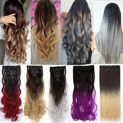 Long Real Ombre Clip In Hair Extensions Straight Curly THICK As Human Hair T4