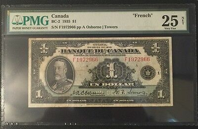 "1935 Canadian $1.00 Osborne/Towers PMG VF25 ""French"" Tough & Rare to find"