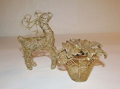 2 Unique Metal Wire & Mesh Christmas Figures Decorations Reindeer & Poinsettia