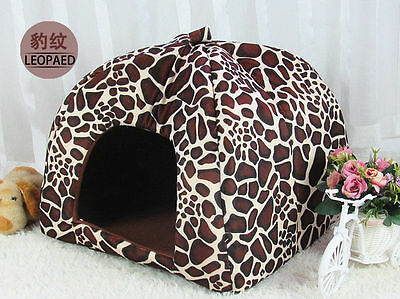 NEW Cute Leopard Strawberry Pet Dog Cat Puppy Kennel Cate House Bed Sofa 4 Sizes
