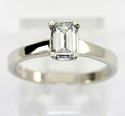 Diamond solitaire engagement ring 14K white gold VS1 emerald cut .76CT new sz 7
