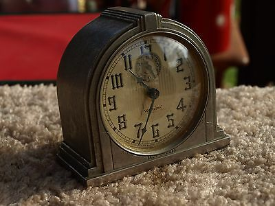 Vintage Westclox Model 61-D Art Deco Alarm Clock Works Excellent