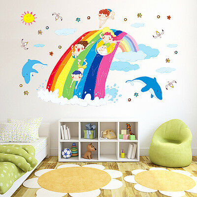 Removable Rainbow Art Vinyl Quote DIY Wall Sticker Decal Mural Kids Room Decor
