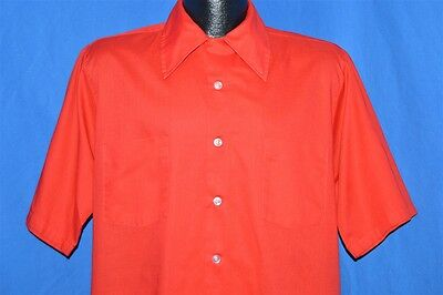 vintage 70s ALLESON OF ROCHESTER RED LOOP COLLAR TALL MEN'S SHIRT 15 15.5 M TALL