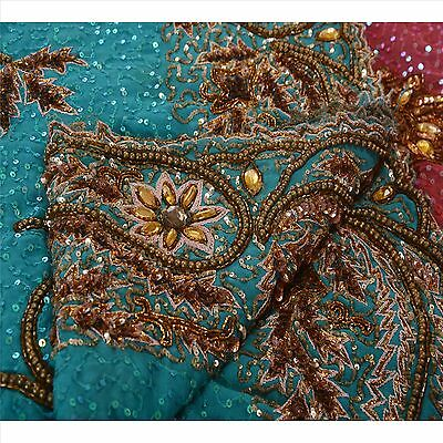 Vintage Hand Beaded Saree Indian Sari Georgette Silk Blue Sequins Work