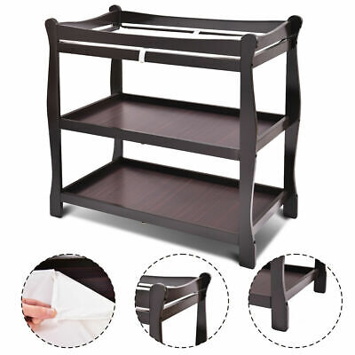 Espresso Sleigh Style Baby Changing Table Infant Newborn Nursery Diaper Station
