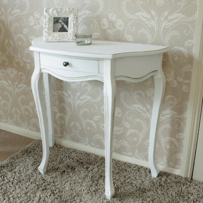 White Wooden Half Moon Table Shabby French chic country living room hallway