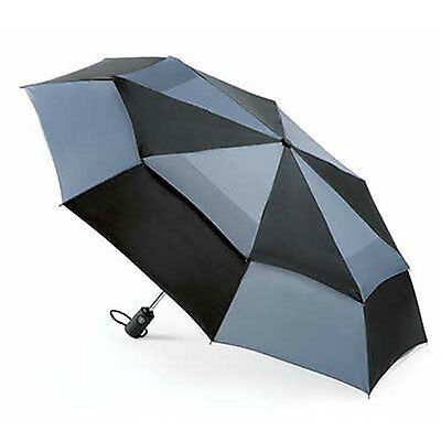 Totes Wonderlight Double Canopy AOC Windproof Umbrella - Black / Charcoal