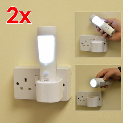 2 x Wolf 3 in 1 Safety & Mains Failure LED Rechargeable Night Light & Torch