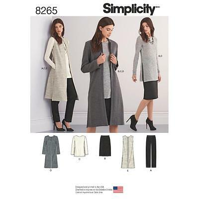 Simplicity Sewing Pattern Misses Unlined Coat Vest Skirt Tunic Size 6 - 24 8265