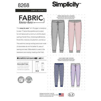 Simplicity Sewing Pattern Misses' Teens & Adult Slim Fit Jogger Pants Xs-Xl 8268