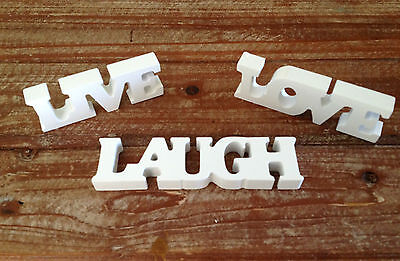 New Small White Wooden Live Laugh Love Letters Sign Plaque Decoration Gift