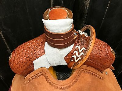 Braided Handmade Brown Leather Night Latch Handle -Ranch Endurance Saddle Horse