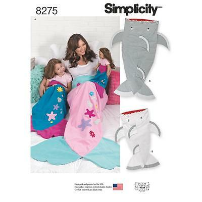 "Simplicity Sewing Pattern Mermaid & Shark Blanket  Child Adult & 18"" Doll 8275"