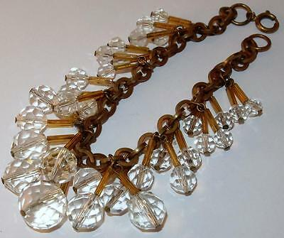 Vintage Art Deco Brass Cable Link W/amber Tube & Crystal Beads Drippy Bracelet