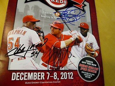 REDSFEST Signed Baseball Program Signed by Chapman,Votto,& Phillips -Guaranteed