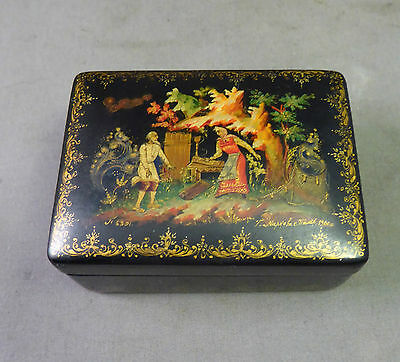 a Fine Russian Lacquer Painted Box dated 1960 From Palekh Signed T.Napkoha