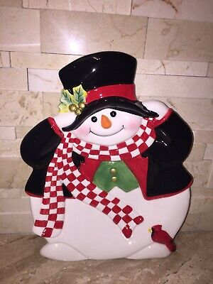 Fitz And Floyd Holly Jolly Snowman Canape Plate