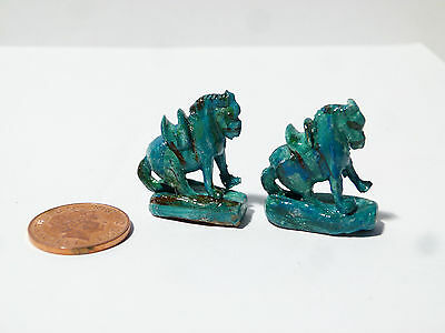 Vintage Dolls House Miniature Two 'Chinese' Turquoise Glaze Faience Horses