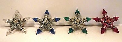 Kristal Star C 6  Christmas  lamps (lights)  4 ea. Tested, One Has Dark Red Body