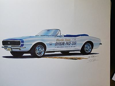 POSTER SIGNED PRINT INDY PACE CAR 1967 Chevy Camaro Convertible Pasteiner