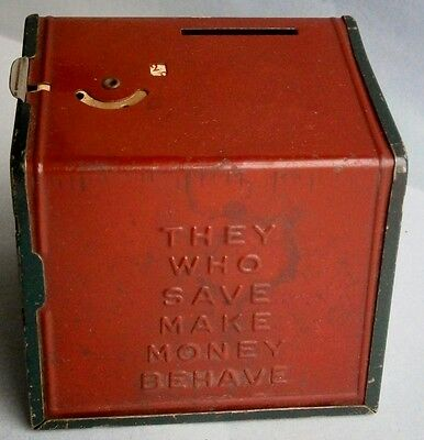 """THEY WHO SAVE MAKE MONEY BEHAVE"" Tin Combination Bank, c.1930's"