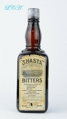 RARE western SHASTA BITTERS bottle -BITTERS ANYONE?  Still sealed - FULL Sac Cal