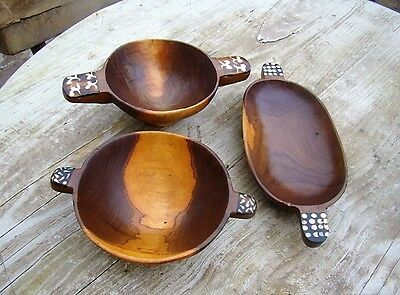~ Exotic Wooden cARVED Hand Made Wood BOWLS - Lot of 3 ~