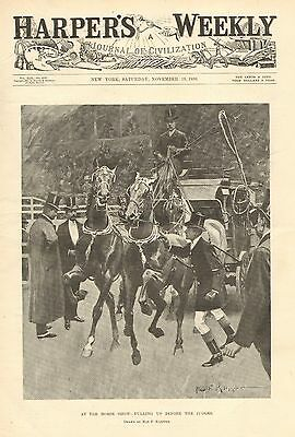 Horse Drawn Carriage, 4 In Hand Club, Horse Show, Vintage 1898 Antique Art Print
