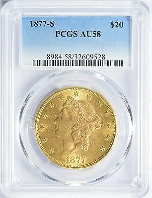 1877-S $20 Gold Liberty Head Double Eagle PCGS AU58