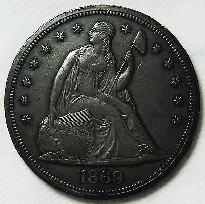 1869 Seated Liberty Silver Dollar $1 Coin Lot# MZ 3758
