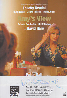 Felicity Kendal Amys View David Hare Play Hand Signed Theatre Flyer