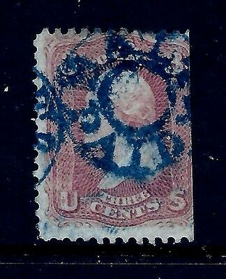 US 1860s Civil War Era Fancy Cancel:  Rare Blue Baltimore PAID ~ S-E* #PM-PE 12