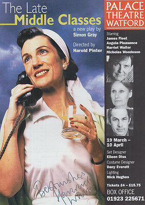 Harriet Walter The Lady Middle Classes Play Simon Gray Hand Signed Theatre Flyer