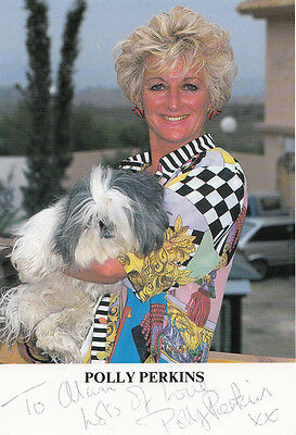 Polly Perkins of Eastenders With Pet Dog Rare Publicity Hand Signed Photo
