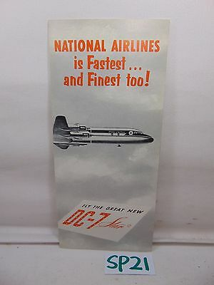 Vintage 1950's Fly National Airlines Rare Pamphlet Brochure Dc-7 Star